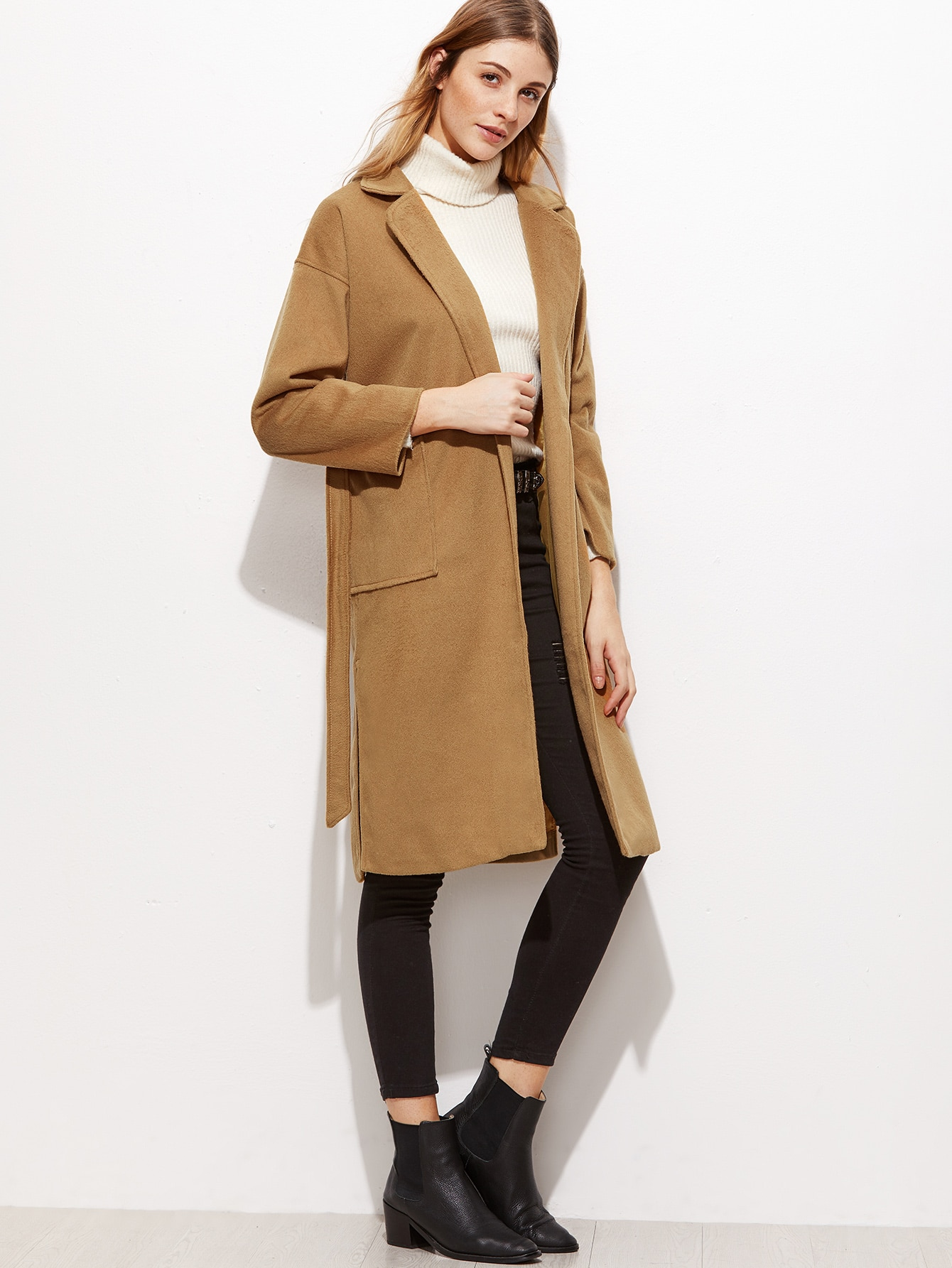 Khaki Wool Blend Split Side Long CoatKhaki Wool Blend Split Side Long Coat<br><br>color: Khaki<br>size: one-size