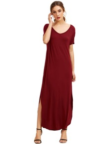 Burgundy Short Sleeve Pocket Split Side Dress