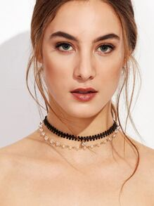 Black Layered Rhinestone Lace Choker Necklace