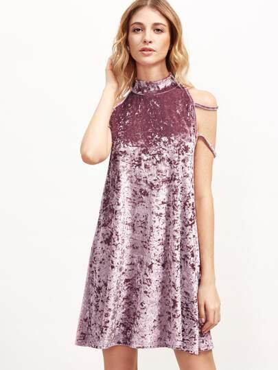 Pink High Neck Strappy Velvet Tank Dress