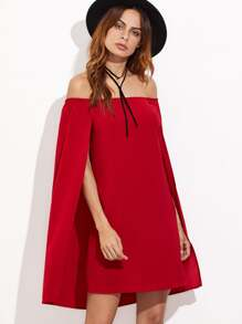 Red Off The Shoulder Cape Dress