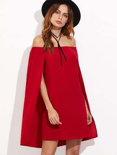 Vestido estilo capa con hombros al aire - rojo