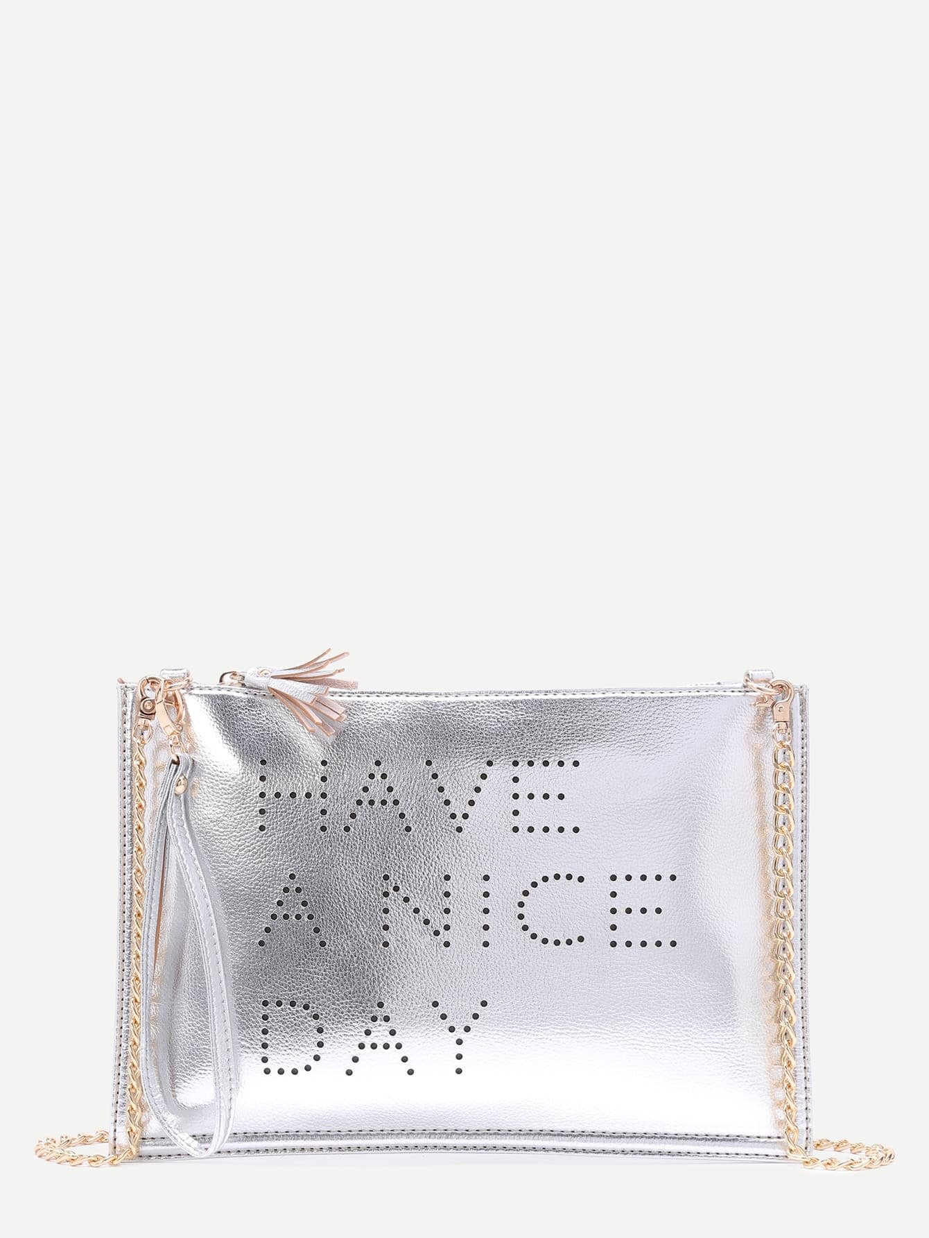 Silver Hollow Out Words Tassel Clutch Bag With Chain Image