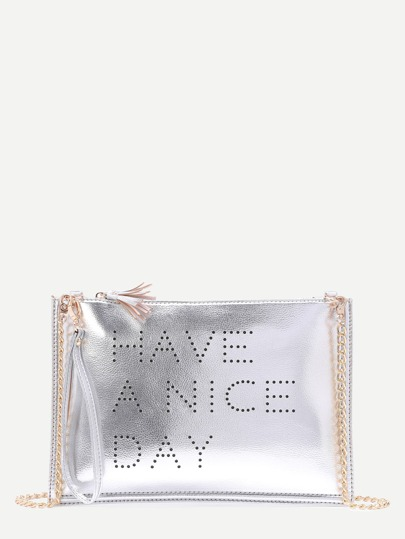 Silver Hollow Out Words Tassel Clutch Bag With Chain