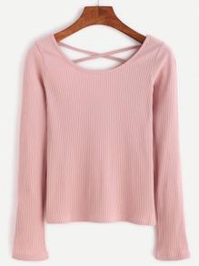 Pink Criss Cross Back Ribbed T-shirt