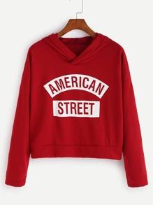 Red Letter Print Crop Hooded Sweatshirt