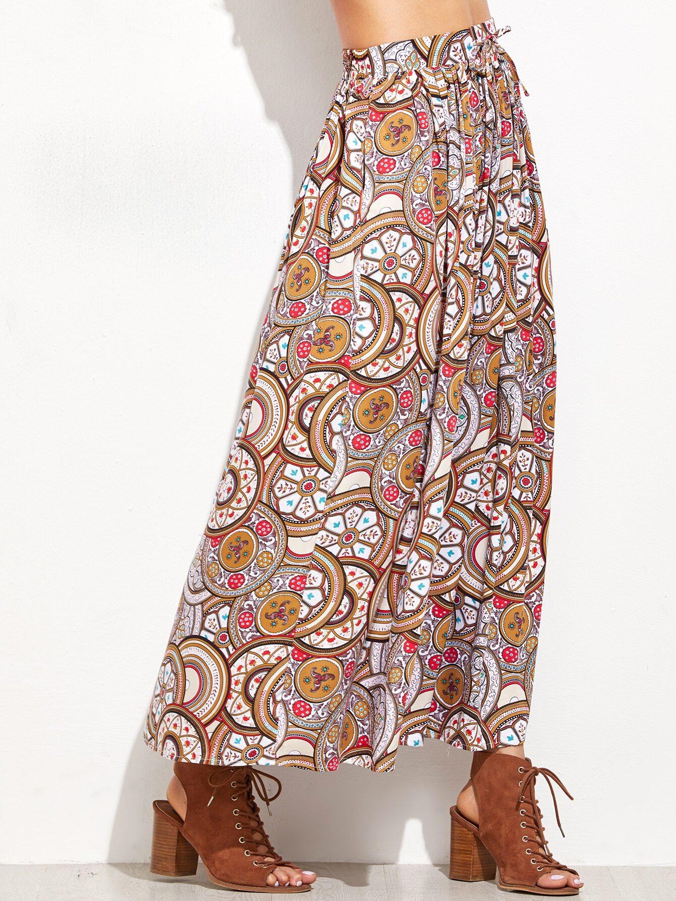 SheIn Khaki Vintage Circle Print Drawstring Waist Skirt