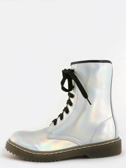 Holographic Lace Up Combat Boots SILVER