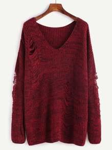 Burgundy Marled V Neck Drop Shoulder Ripped Sweater