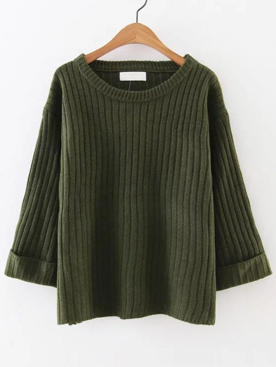 Army Green Ribbed Rolled Cuff Sweater sweater161025225