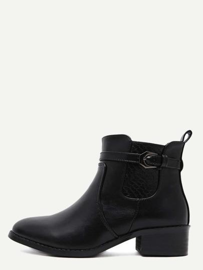 Black PU Buckle Strap Snakeskin Embellished Jodhpur Boots