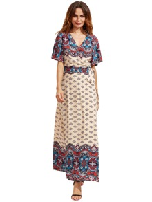 Printed V Cut Elbow Sleeve Surplice Knotted Dress