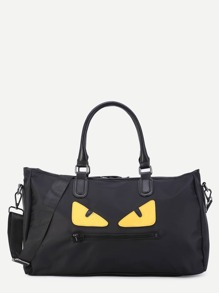 Black Nylon Cartoon Print Handbag With Strap