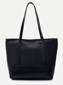 Black PU Trim Nylon Tote Bag