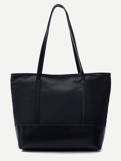 PU Trim Nylon Tote Bag
