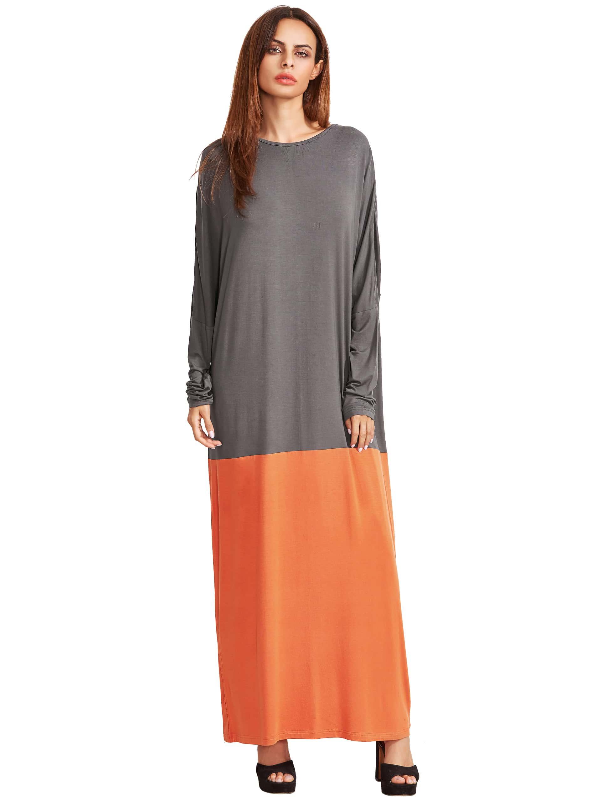 Фото Color Block Round Neck Long Sleeve Maxi Dress. Купить с доставкой
