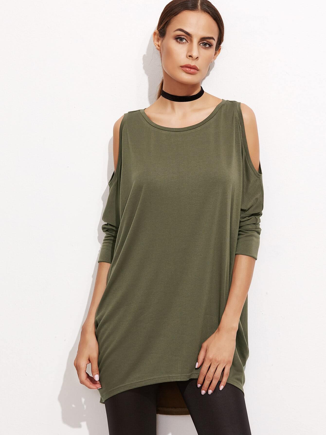 Olive Green Cold Shoulder Three Quarter Sleeve High Low DressOlive Green Cold Shoulder Three Quarter Sleeve High Low Dress<br><br>color: Army Green<br>size: L,M,S,XS