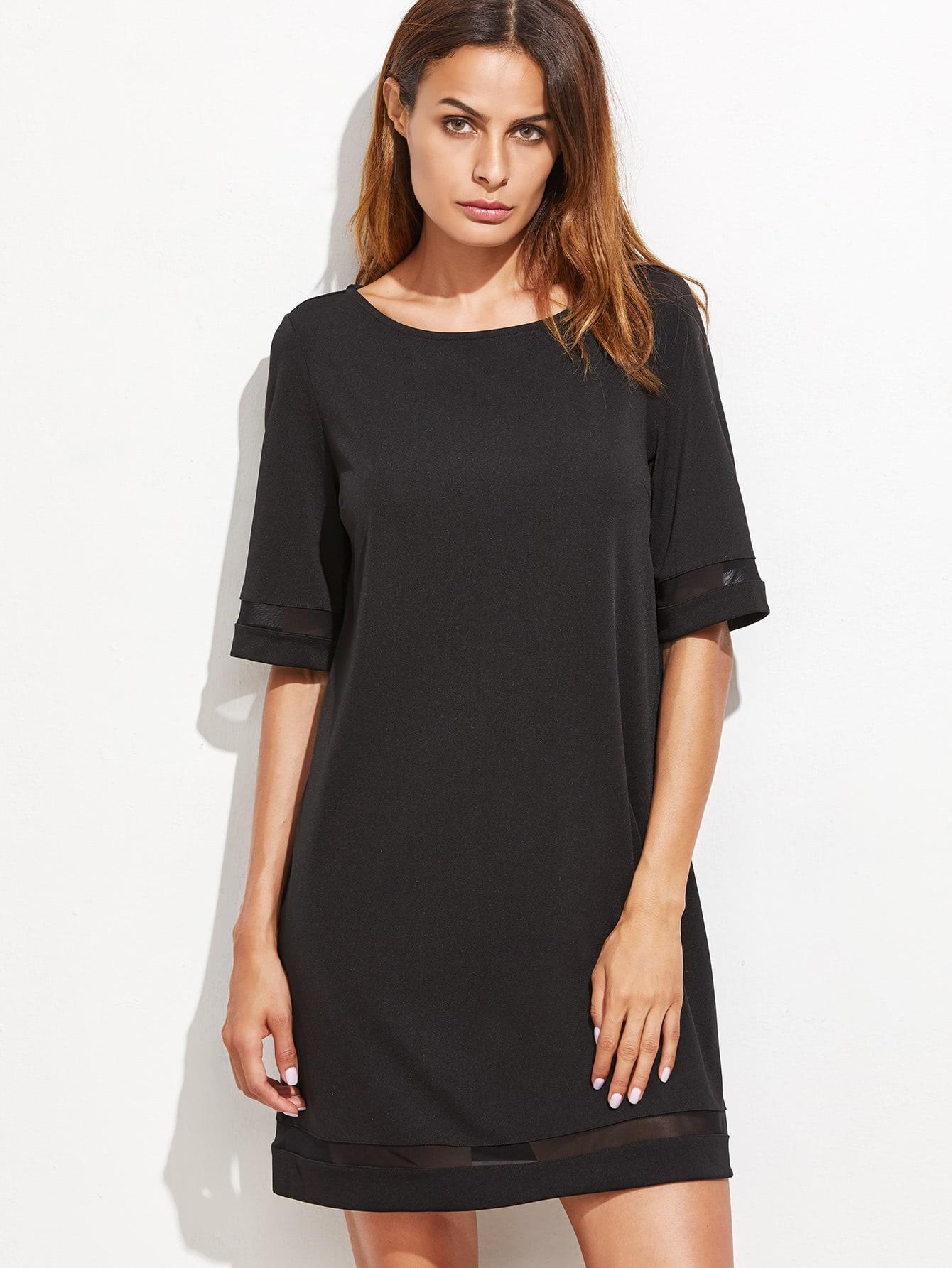 Mesh Panel Tunic Dress dress161014701