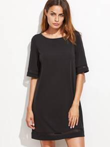 Black Mesh Panel Tunic Dress