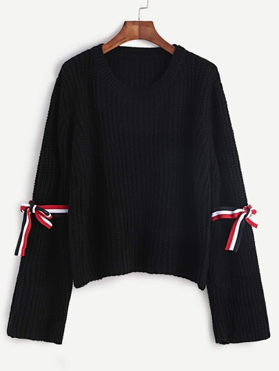 Black Ribbed Knit Bell Sleeve Sweater With Striped Tape Detail