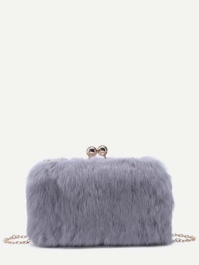 Grey Rabbit Hair Crossbody Chain Bag