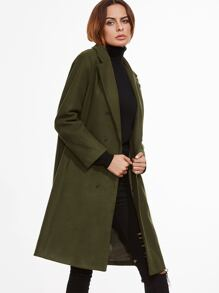 Army Green Double Breasted Slit Back Coat