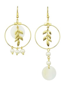 Gold Color Imitation Pearl Leaf Long Earrings