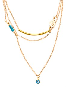 Gold Plated Layered Hamsa Hand Turquoise Necklace