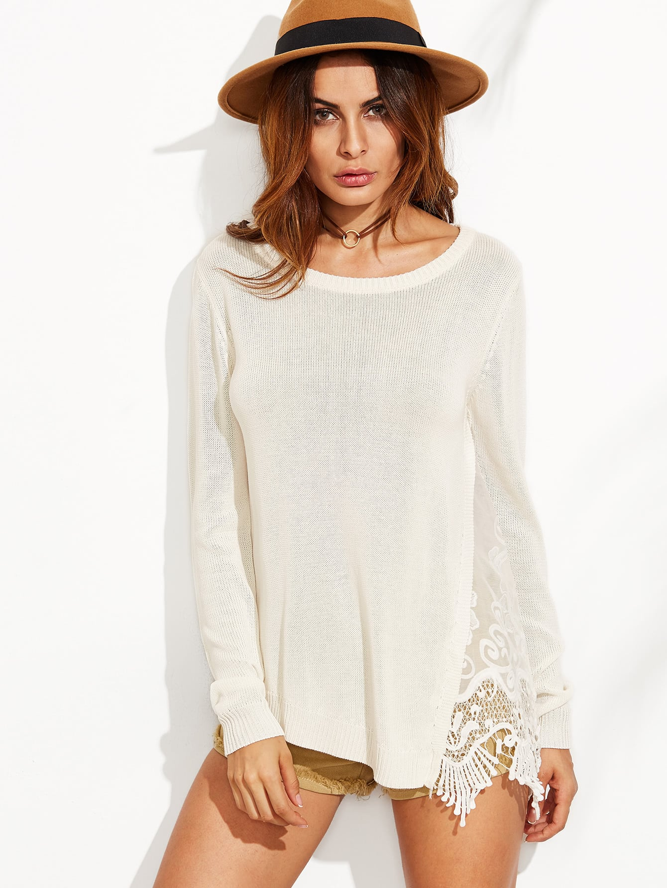 White Lace Insert Asymmetric SweaterWhite Lace Insert Asymmetric Sweater<br><br>color: White<br>size: one-size