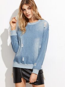 Blue Ripped Denim Zip Side Sweatshirt