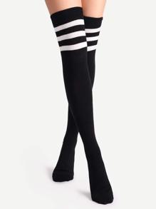 Черный Varsity нашивки над коленом носки