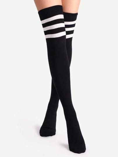 Chaussettes longues à rayure - noir