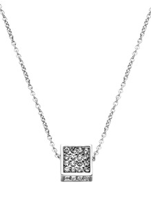Silver Plated Rhinestone Cube Pendant Necklace