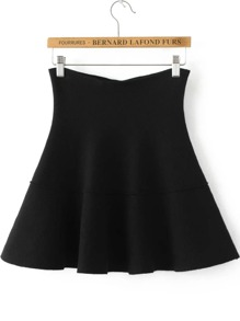 Black Pleated Knit Skirt