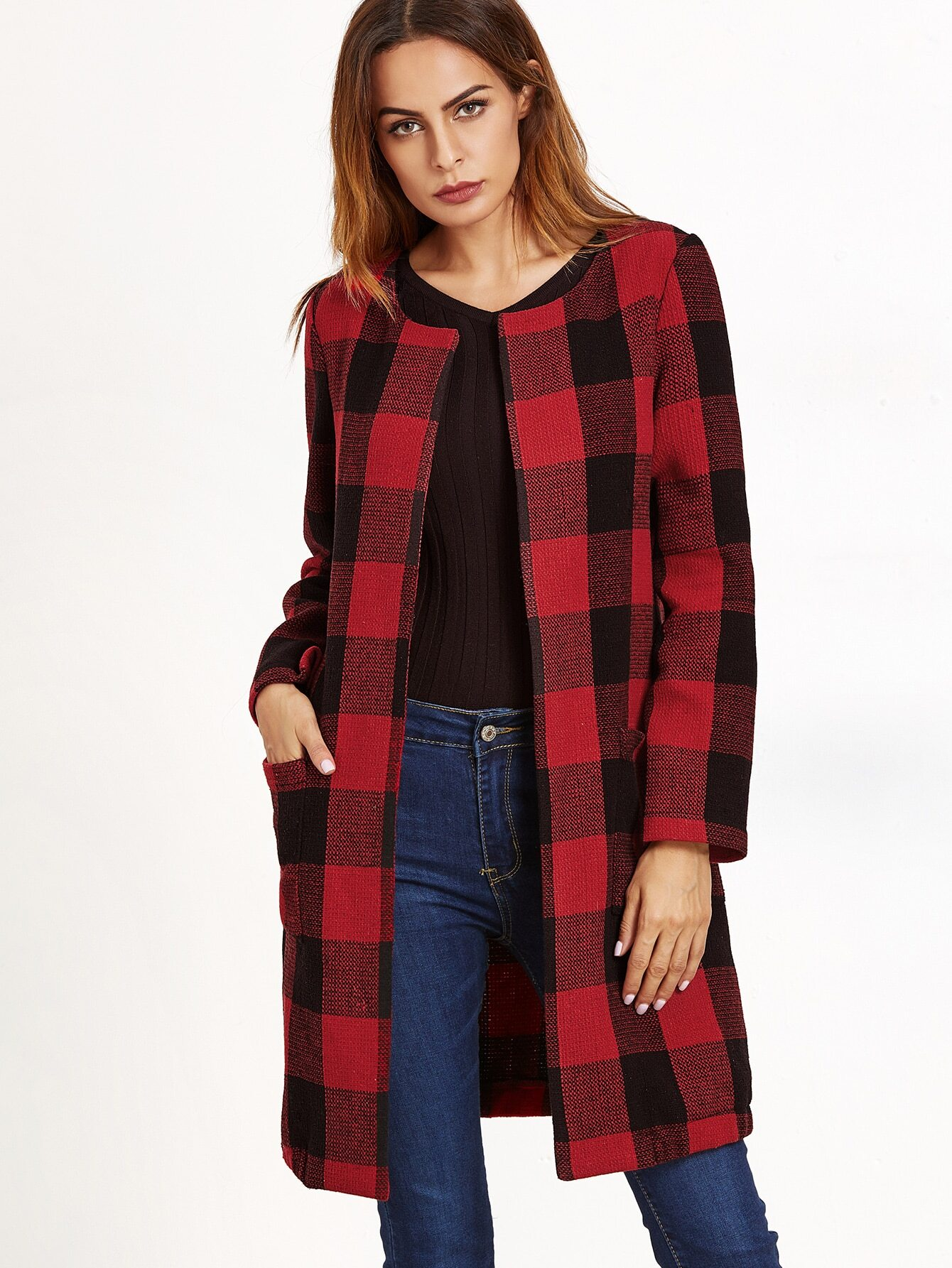 Black And Red Checkered Collarless Coat -SheIn(Sheinside)