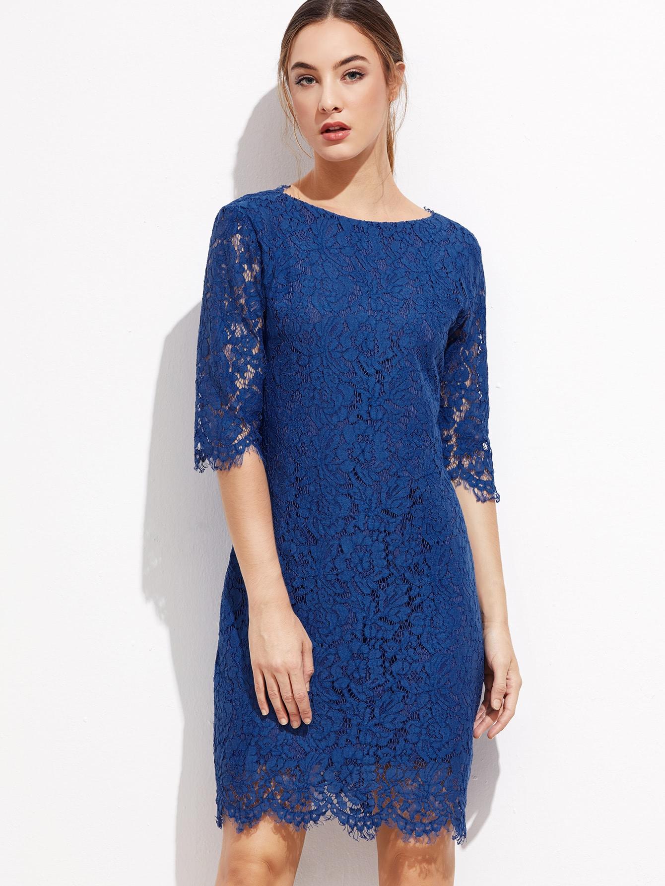 Фото Royal Blue V Back Scallop Hem Lace Dress. Купить с доставкой