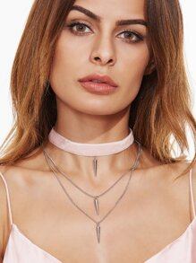 Pink Velvet Layered Spike Choker Necklace