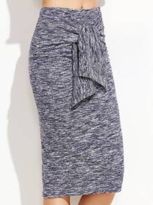 Marled Knit Knotted Front Midi Skirt