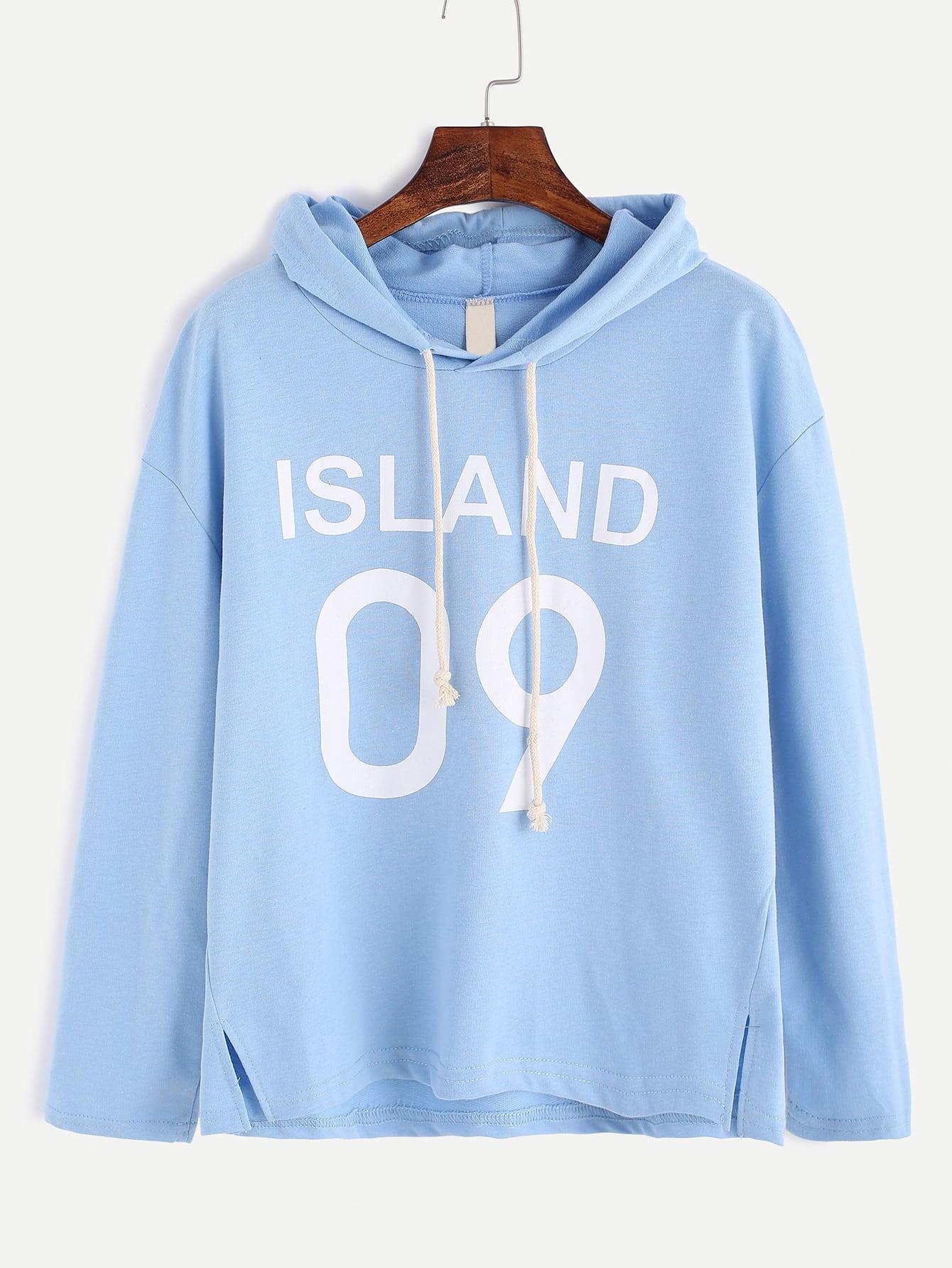 Blue Letter Print Slit Side Hooded T-shirt tee161019001