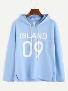 Blue Letter Print Slit Side Hooded T-shirt