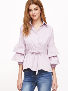 Pink Layered Bell Sleeve Drawstring Waist Blouse