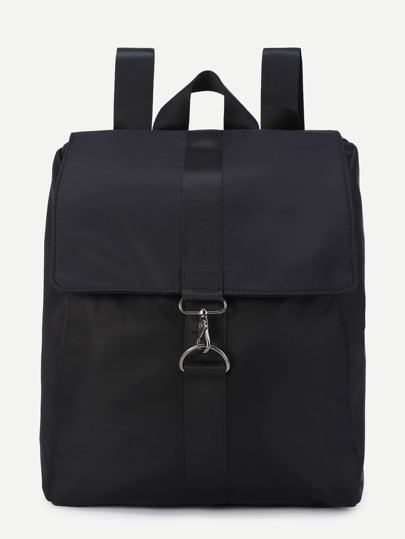 Black Nylon Strap Buckle Flap Backpack
