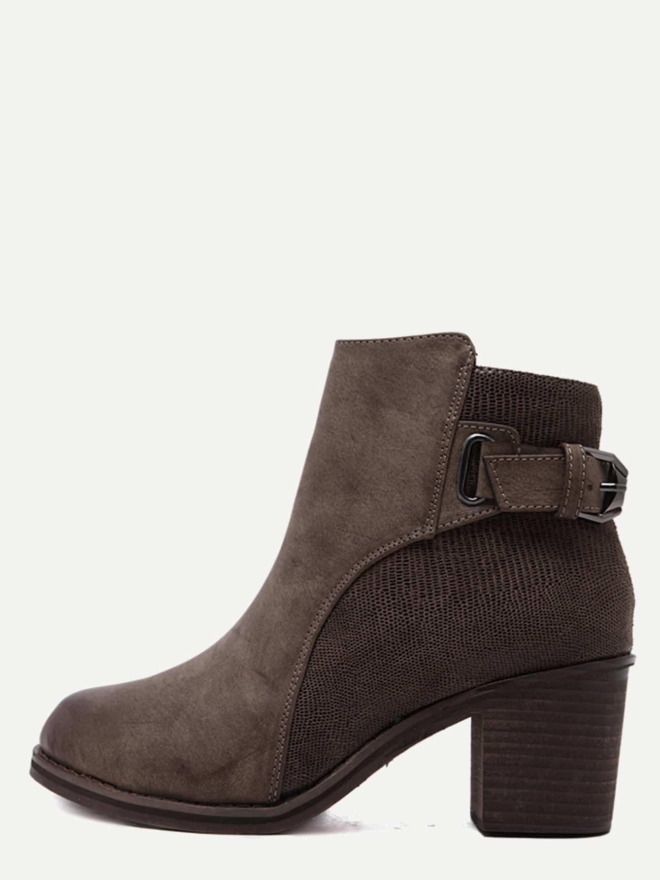 Brown Sneakerskin Leather Embellished Buckle Strap Cork Heel Booties shoes161028812
