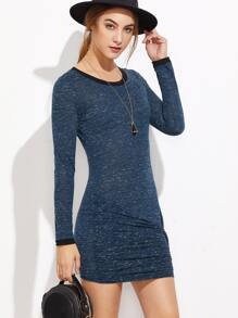 Navy Marled Contrast Trim Ruched Bodycon Dress