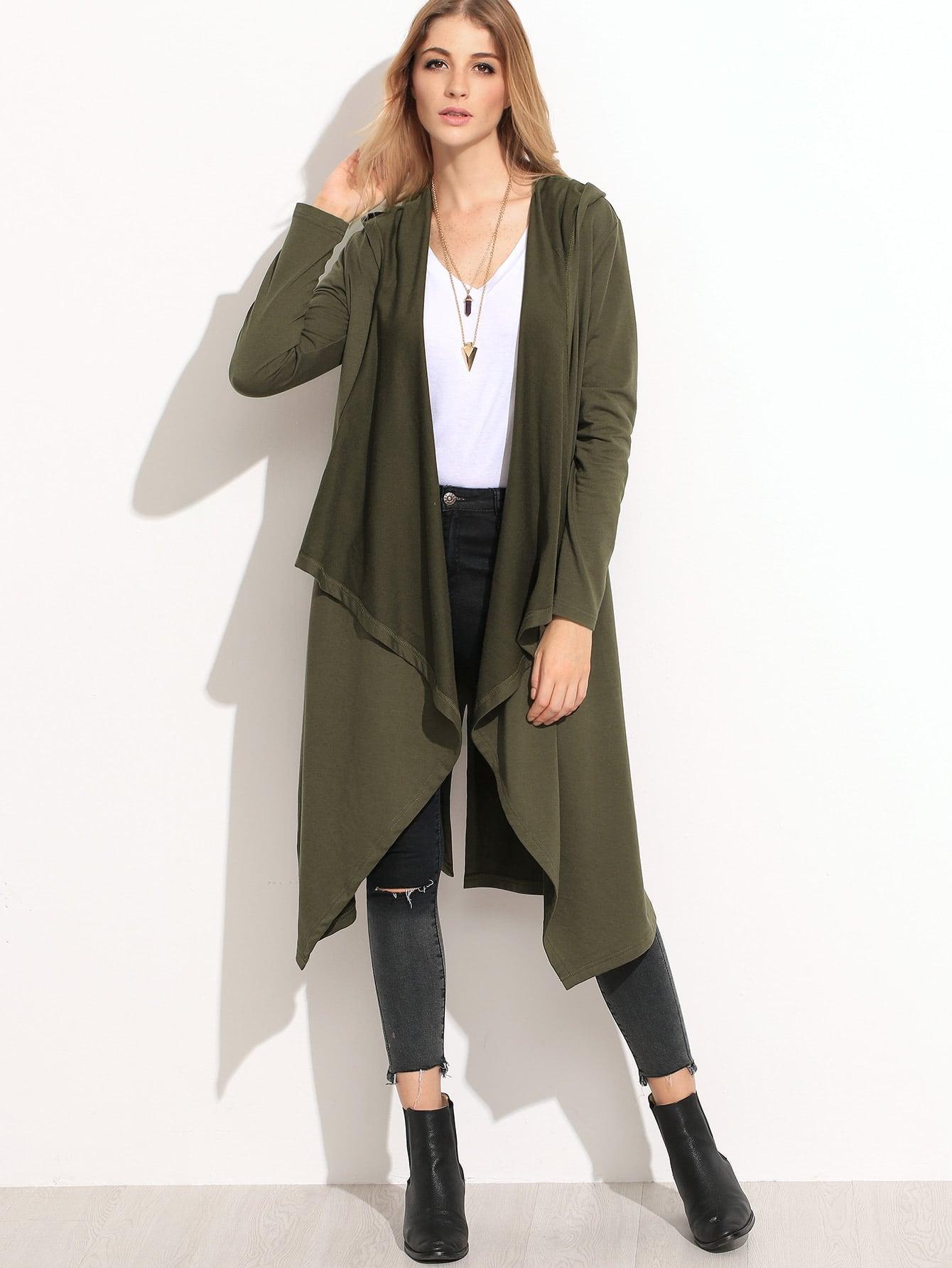 Olive green waterfall hooded coat