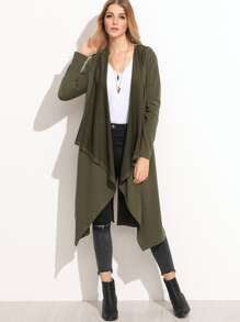 Olive Green Waterfall Hooded Coat