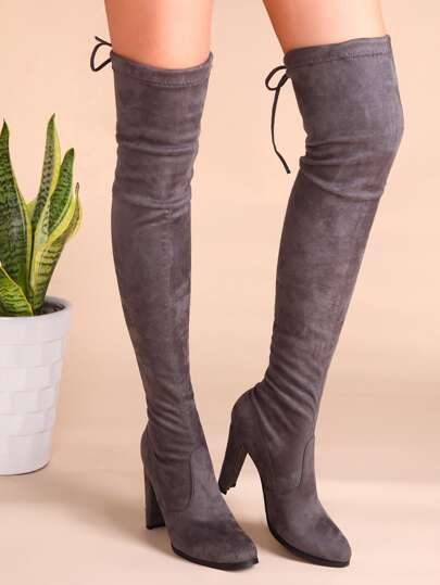 Grey Velvet Point Toe Lace Back Over The Knee Boots