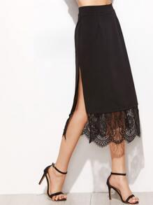 Falda de encaje con abertura lateral - negro