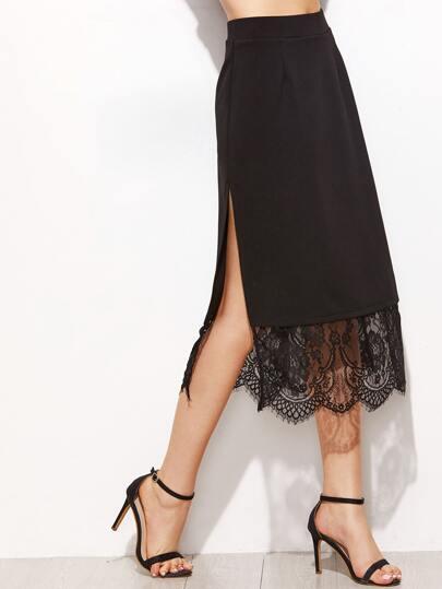 Scallop Lace Trim Split Side Skirt