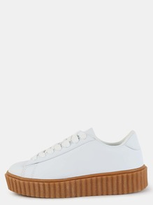 Platform Sole Faux Suede Sneakers WHITE